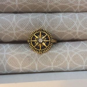 Clear Rhinestone Compass Gold Plated Ring